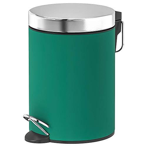 IKEA ASIA EKOLN Abfalleimer, grün kein Verklammern, der Deckel mit Absenkautomatik, Produktgröße Höhe: 24 cm, Durchmesser: 17 cm, Inhalt: 3 l, Material: Edelstahl, Pulverbeschichtung, PU-Lack klar