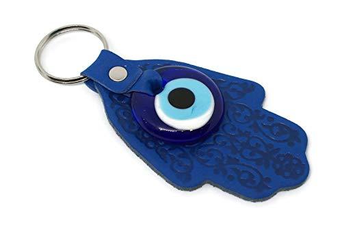 MYSTIC JEWELS by Dalia - Llavero Ojo Turco en Forma de Hamsa y en Cristal y Cuero - para buene Suerte y Mal de Ojo - Tamaño 12 X 5 cm (Azul)