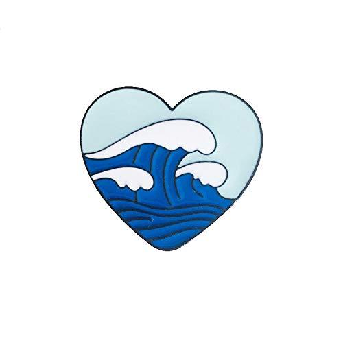 Heart Shaped Sea Metal Esamel Brooch Creative Fashion Wave Badge Pin Summer Surf Trendy Glamour Costume