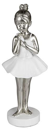 dekojohnson Moderne Dekofigur Prima Ballerina Ballett-Tänzerin Ballett-Miniatur-Figur Abstrakte-Kunst Frauen-Statue stehend 23cm weiß Silber