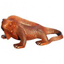 Großer LEGUAN Echse Tier Figur Holz Drache Reptil Leguan30