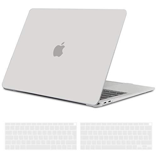 TECOOL Custodia MacBook Air 13 Pollici 2020 2019 2018 (Modello: A2337 M1/A2179/A1932), Plastica Case Cover Rigida Copertina con Copritastiera in Silicone per MacBook Air 13.3 Touch ID - Chiaro