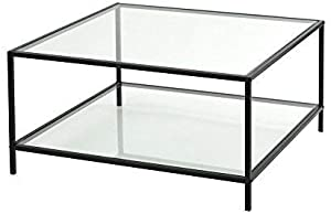 innovareds-uk Table Basse - Table de Salon (80 * 80 * 42CM) (Plateau en Verre) (Blanc) Table/Table en Verre/Table d'appoint/Salon/Haute Brillance