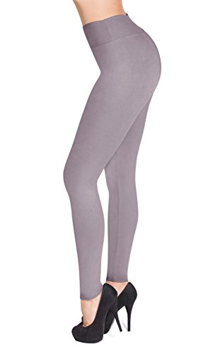 SATINA #1 High Waisted Buttery Soft Leggings | Regular and Plus Size | 22 Colors (One Size, Lilac Gray)