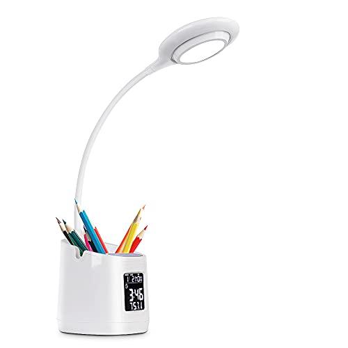Lámpara de Escritorio, Flexo Escritorio LED con Soporte, LED- Luz Lectura Lámpara Regulación sin Escalones, Luz de Mesa (Hora, Alarma, Fecha, Temperatura) Flexo Luz de 3 Colores para Estudio / Lectura