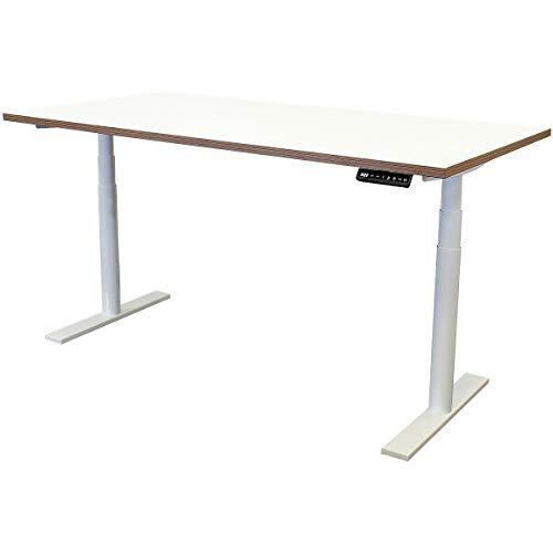 newpo elektrisch höhenverstellbarer Schreibtisch mit Tischplatte | BxT 160 x 80 cm | weiß-braun | Stehtisch Bürotisch Tisch-Gestell
