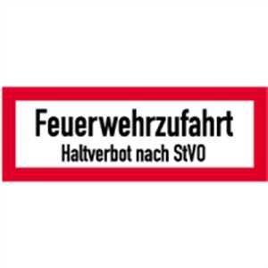 Schild Feuerwehrzufahrt Haltverbot nach StVO gemäß DIN 4066, Alu 21x59,4cm (Brandschutzschild, Parkverbot, Einfahrt freihalten) praxisbewährt, wetterfest