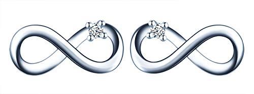 Mini Orecchini da donna in argento 925, orecchini a perno con simbolo dell'infinito, con zirconi, regalo di Natale e compleanno