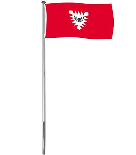 Brubaker Aluminium Fahnenmast Flaggenmast 6 m inklusive Deutschland Flagge + Kiel Flagge 150 x 90 cm und Bodenhülse