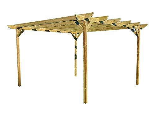 Corbel Wooden Garden Pergola Kit - Exclusive Pergola Range - Largest on Amazon (2.4m x 3m 4 posts, Light Green (Natural))
