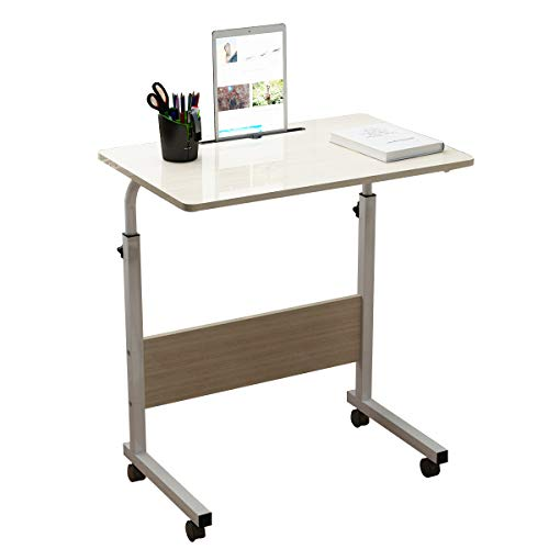 soges Adjustable Lap Table with Slot Mobile Laptop Computer Stand Bedside Table Portable Side Table for Bed Sofa, White Maple 05#3-60MP