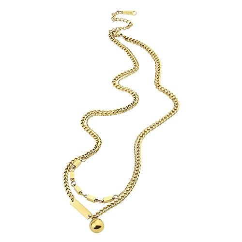collar Hermoso Collar Con Colgante Cuadrado Y Bola De Cadena De Doble Capa Para Mujer, Acero Inoxidable, Color Dorado De Alta Calidad