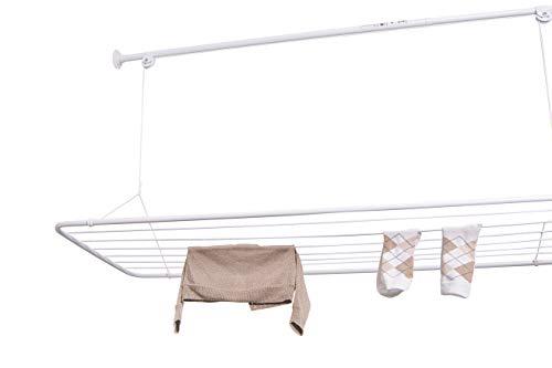 Erica Tendedero de Techo 100x50cm con Barra de Fijación Extensible de 110-160cm, Colgador Vertical Plegable, Revestimiento de PVC Blanco