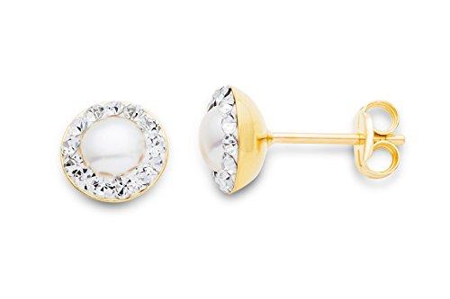 Miore Ohrringe Damen Ohrstecker Weißgold 9 Karat / 375 Gold Süßwasserperlen Swarovski