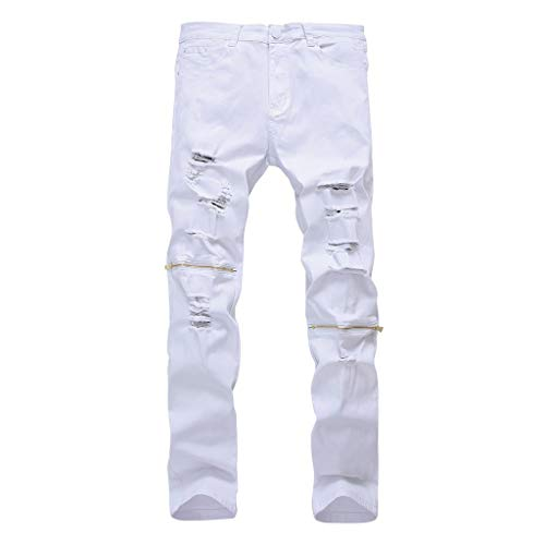 FONMA Men's Jeans Elastic Personality Trousers Stretch Ripped Denim Pants White