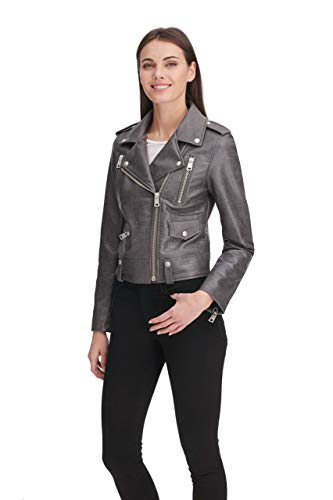 Levi's Women's Faux Leather Contemporary Asymmetrical Motorcycle Jacket, Charcoal croc, X-Large