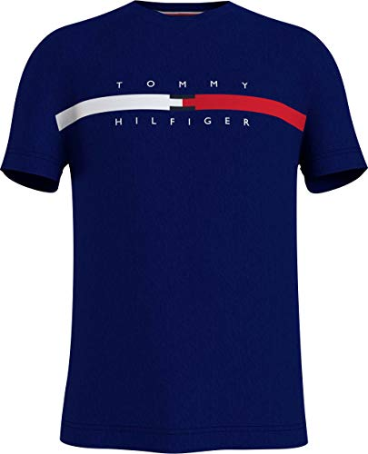 Tommy Hilfiger Global Stripe Chest tee Camiseta, Yale Navy, XL para Hombre