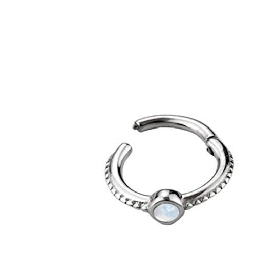 CHICNET Unisex Folding Segment Ring Septum Nostril Ear Lobe Helix Tragus Lip Universal Piercing Stainless Steel Stone Turquoise Opal Blue White Silver Dots 8mm x 1.2mm Opal White
