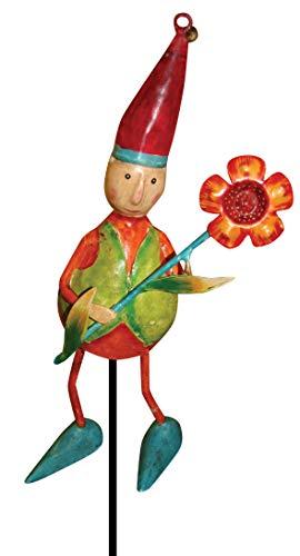 Gall&Zick Gartenstecker,Metallstecker,Dekoration,handbemalt,Gartenzwerg mit Blume,