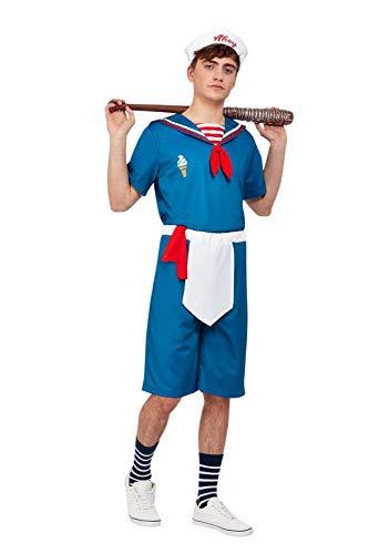 "Smiffys Ice Cream Sailor Costume Disfraz de marinero de helado, color azul, XL-Size 46""-48"" (63059XL)"