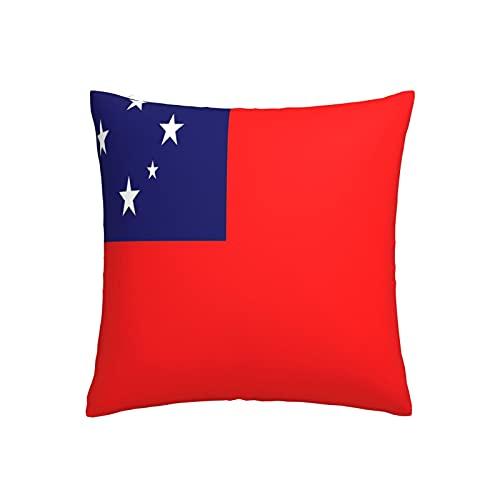 Kissenbezug mit Flagge von Samoa, quadratisch, dekorativer Kissenbezug für Sofa, Couch, Zuhause, Schlafzimmer, drinnen & draußen, niedlicher Kissenbezug 45,7 x 45,7 cm