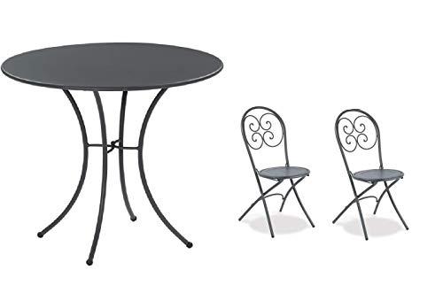 Table pour extérieur Pigalle Kiss diamètre 60 cm + 2 chaise pighevole Pigalle 924 – en fer zingué et verni à poussières – Couleur fer ancien fantaisie 22 – Produit fabriqué en Italie