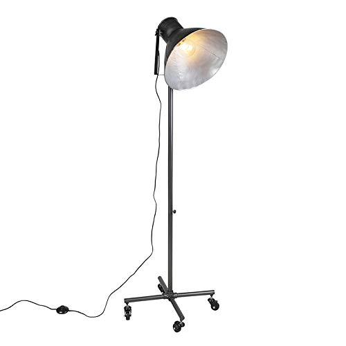 QAZQA Industriële vloerlamp antraciet 1-lichts - Mono Staal Rond Geschikt voor LED Max. 1 x 60 Watt