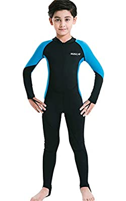 Youth Girls Boys One Piece Water Sports Sun Protection Rash Guard UPF 50+ Long Sleeves Full Suit Swimsuit Wetsuit Swimwear Navy/Royal