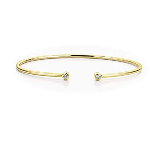Orovi Pulsera de oro amarillo con diamantes de 9 quilates (375) y diamantes brillantes de 0,11 ct, 6,5 cm de largo