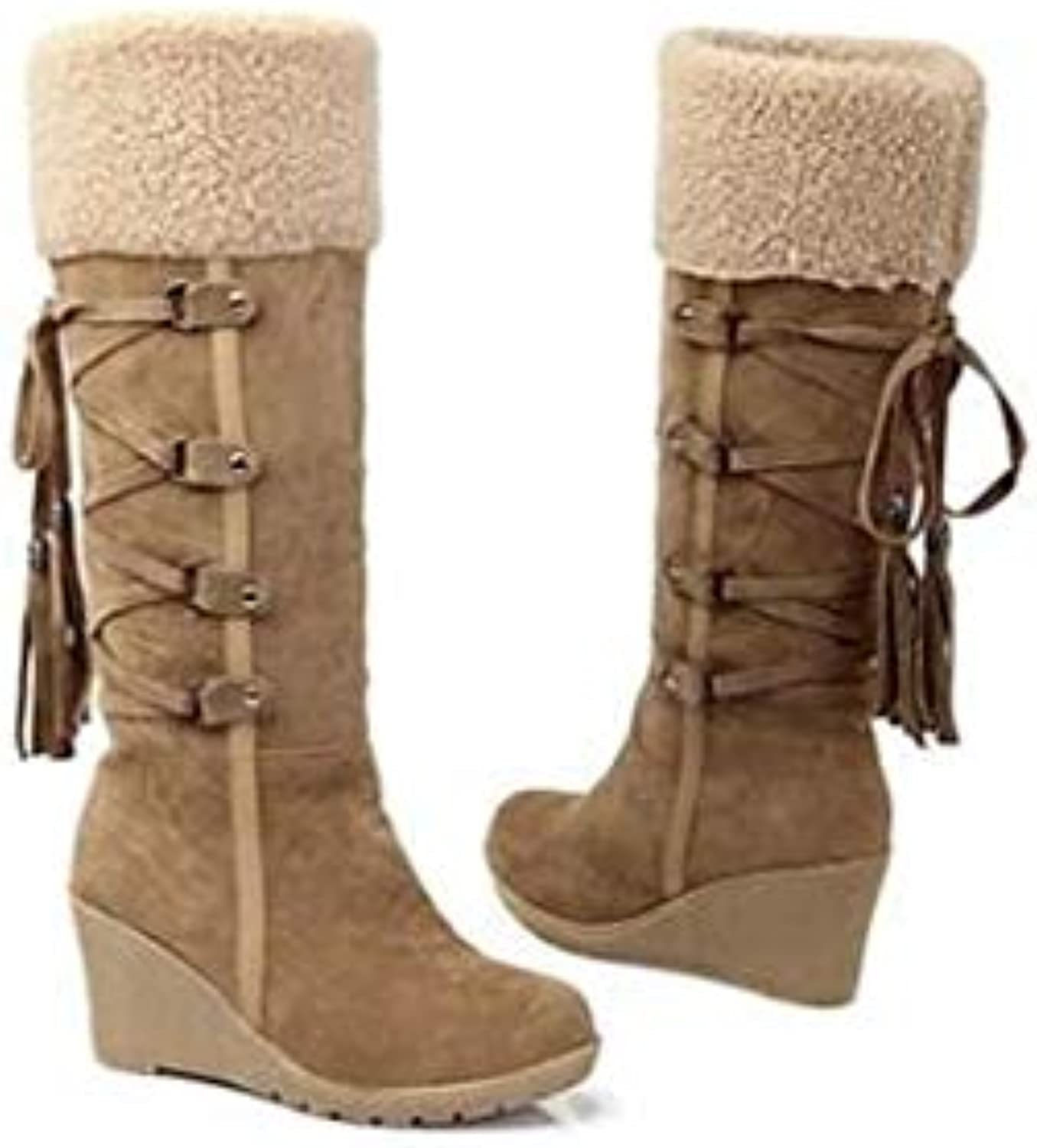 Top Shishang Winter Scrub Lace Fringe High Snow Boots Wedges Faux Fur Lined Martin Boots Women