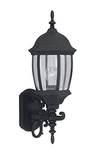 Designers Fountain 2422-BK  Tiverton 8u0022u0022 Cast Wall Lantern in Black finish with Clear glass