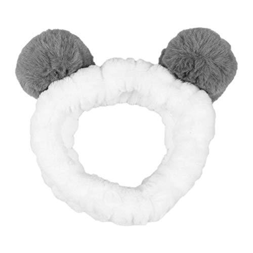 Minkissy Make-up Stirnband weichen elastischen Haarband mit Ohren schönen Plüsch Kopf wickeln für Spa Waschen Gesicht Dusche (grau)