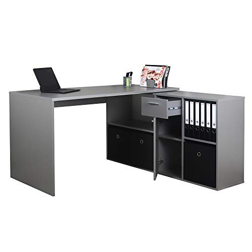 RICOO WM081-PL Schreibtisch Holz Hell-Grau Winkelkombination Arbeitstisch Bürotisch Computertisch Eckschreibtisch Akten Schrank Lowboard