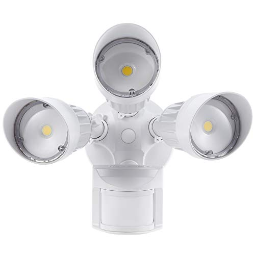 LEONLITE LED Security Lights Motion Sensor, 3 Heads Outdoor Flood Light, 30W(250W Equiv.), 3 Lighting Modes, ETL & DLC Listed, IP65 Waterproof, 5000K Daylight, White