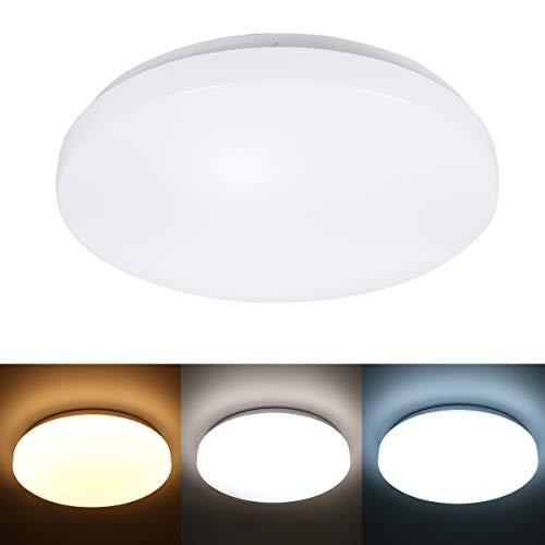 Tomshine 24W LED Deckenleuchte,Bad Deckenleuchte 3 Beleuchtungsfarben/ 3000k/ 4000k/ 6500k/ IP20/ 33cm / 2000lm Badezimmerlampe Deckenlampe Badleuchte