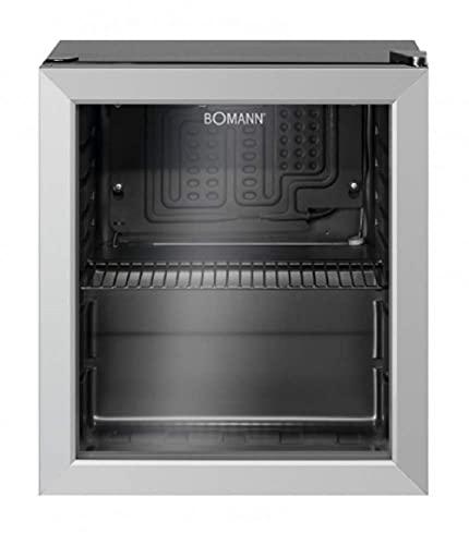 Bomann KSG 7282.1 Glastürkühlschrank, 48 Liter, LED Innenraumbeleuchtung, separat schaltbar, wechselbarer Türanschlag, Chromablage (höhenverstellbar), schwarz