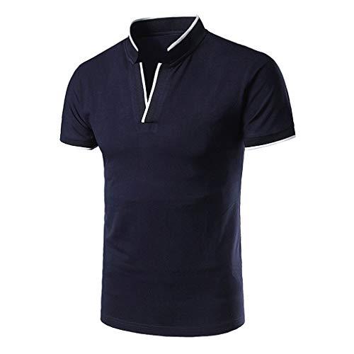 Yowablo Herren Poloshirt Polo Polohemd Kurzarmshirt Shirt Basic Casual Fashion Stehkragen Kurzarm Polo Shirt Bluse (XXL,1Marine)