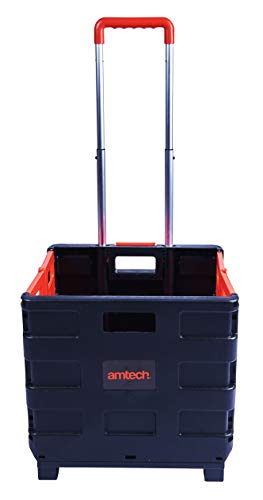 Amtech S5650 Folding Boot Cart, Telescopic Handle Foldable Trolley Cart on Wheels