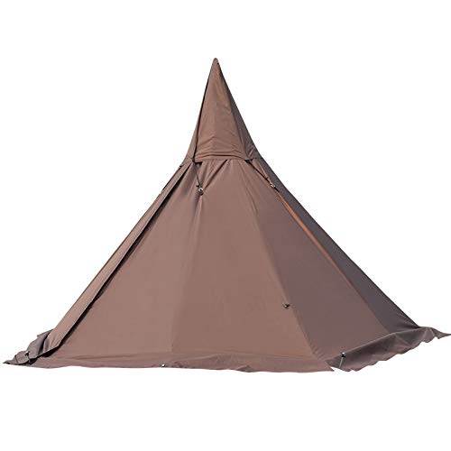 Latourreg Portable Waterproof Camping Pentagonal Teepee Tent Outdoor Camping Pyramid Tipi Tent with Stove Hole (Brown, Pentagon)
