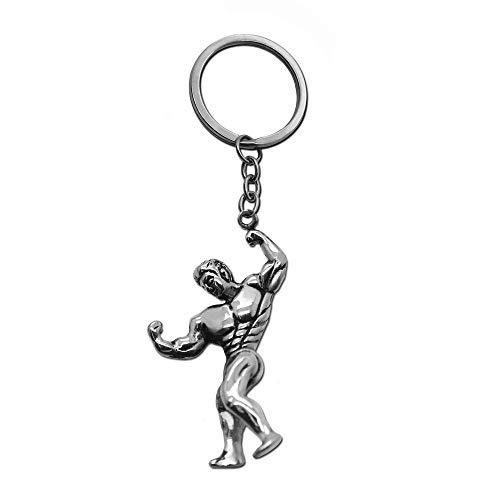 tumundo Schlüssel-Anhänger Schlüsselring Edelstahl Hantel Box-Handschuh Gewicht Fitness Bodybuilding Sport Bizeps Muskel, Variante:Mod1 - Silber