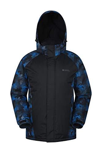 Mountain Warehouse Dusk Skijacke für Herren - Wasserbeständige Snowboardjacke, Fleecefutter, Schneerock, Kapuze und Bündchen zum Verstellen - Ideale Winterjacke Blau Camo M