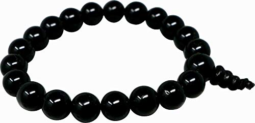 Obsidian Powerarmband Kugelform 8 mm, Buddha Beads Powerband Edelstein Armband schwarz, Schutzstein