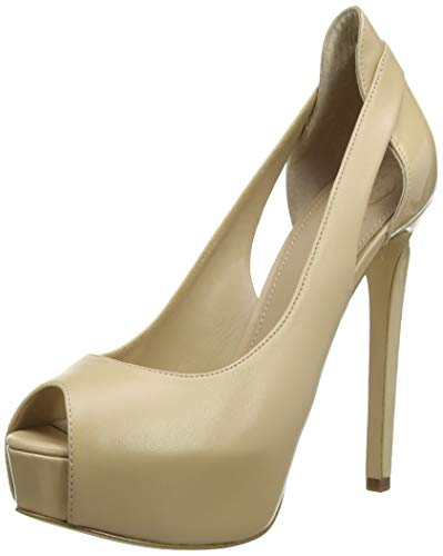 Guess Damen Helga/Spuntato (Open Toe)/Leat Peeptoe Pumps, Braun (Brown NATU), 40 EU