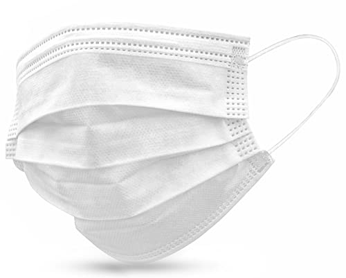 3 Ply Disposable Masks - MADE IN THE USA - 50 Pack (White)