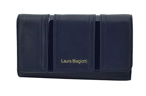 BIAGIOTTI damesportemonnee van kunstleer met kaarthouder en geschenkdoos blauw blauw