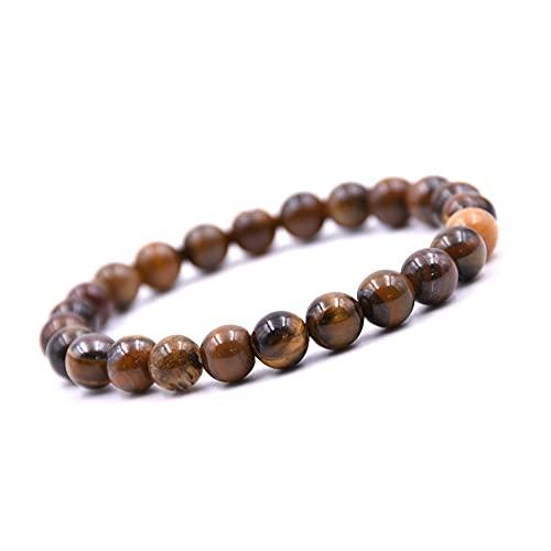 Pulsera Unique Chakra Buda, ojo de tigre, perlas de 8 mm, pulsera de energía curativa, unisex, elástica, calidad