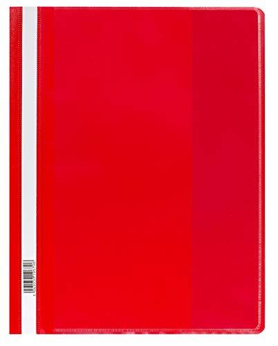 Oxford FolderSys - Carpeta con fundas (tamaño A4, 25 unidades), color rojo