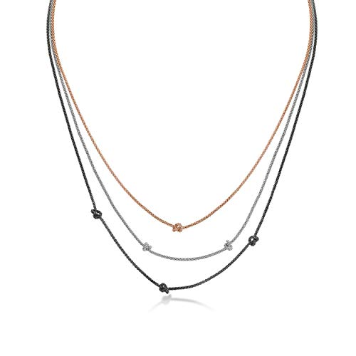 Amberta 925 Sterling Silver - 1.3 mm Multi Layer Necklace for Women - Adjustable 3-Color Popcorn Layered Chain with Knots - Length 16 to 18 in / 40 to 45 cm