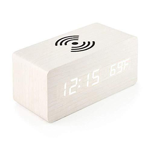 LUOYLYM Control De Voz Reloj Despertador Digital Creativo Teléfono Móvil Carga Inalámbrica Reloj Despertador De Madera Lazy Bedside Mute Electronic Led Clock