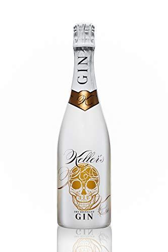 Keller's Dry Distilled Gin (1 x 0,7 l), vielseitiger Premium Gin aus 66 Botanicals - 40% vol. Alkohol - im Champagner Flaschen Design